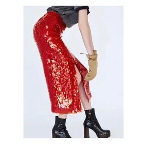 Zara NWT Red Sequined Skirt